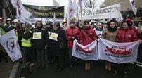 Protest żon górników pod Kancelarią Prezydenta