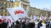 Pikieta Solidarności przed KPRM w Warszawie