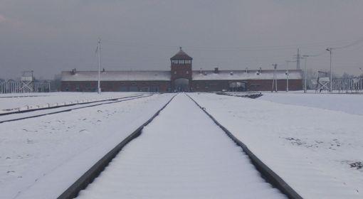 Wartownia i brama główna Auschwitz II (Birkenau), zdjęcie współczesne.