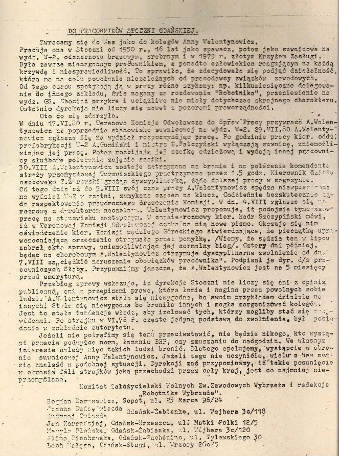 """Skan ulotki """"Do pracowników Stoczni Gdańskiej"""", źr. Marek Owsiński."""