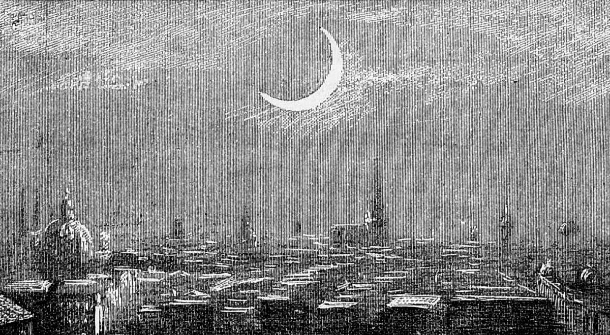 Rysunek przedstawiający zaćmienie Słońca w 1887 r., które dla Bolesława Prusa było bardzo silnym przeżyciem (fot. Wikimedia/CC)