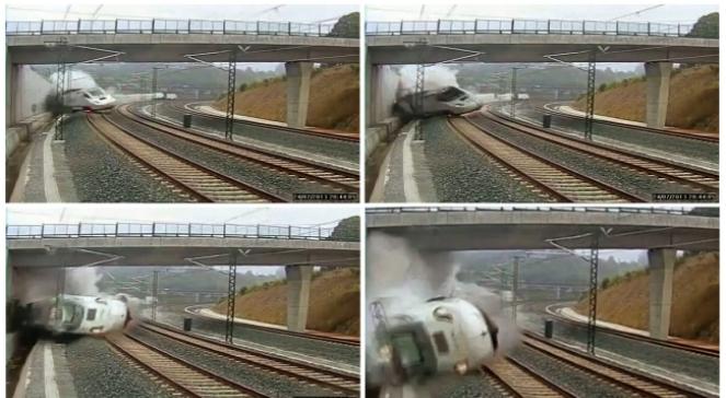 Moment katastrofy pociągu w Hiszpanii ujęty na filmie
