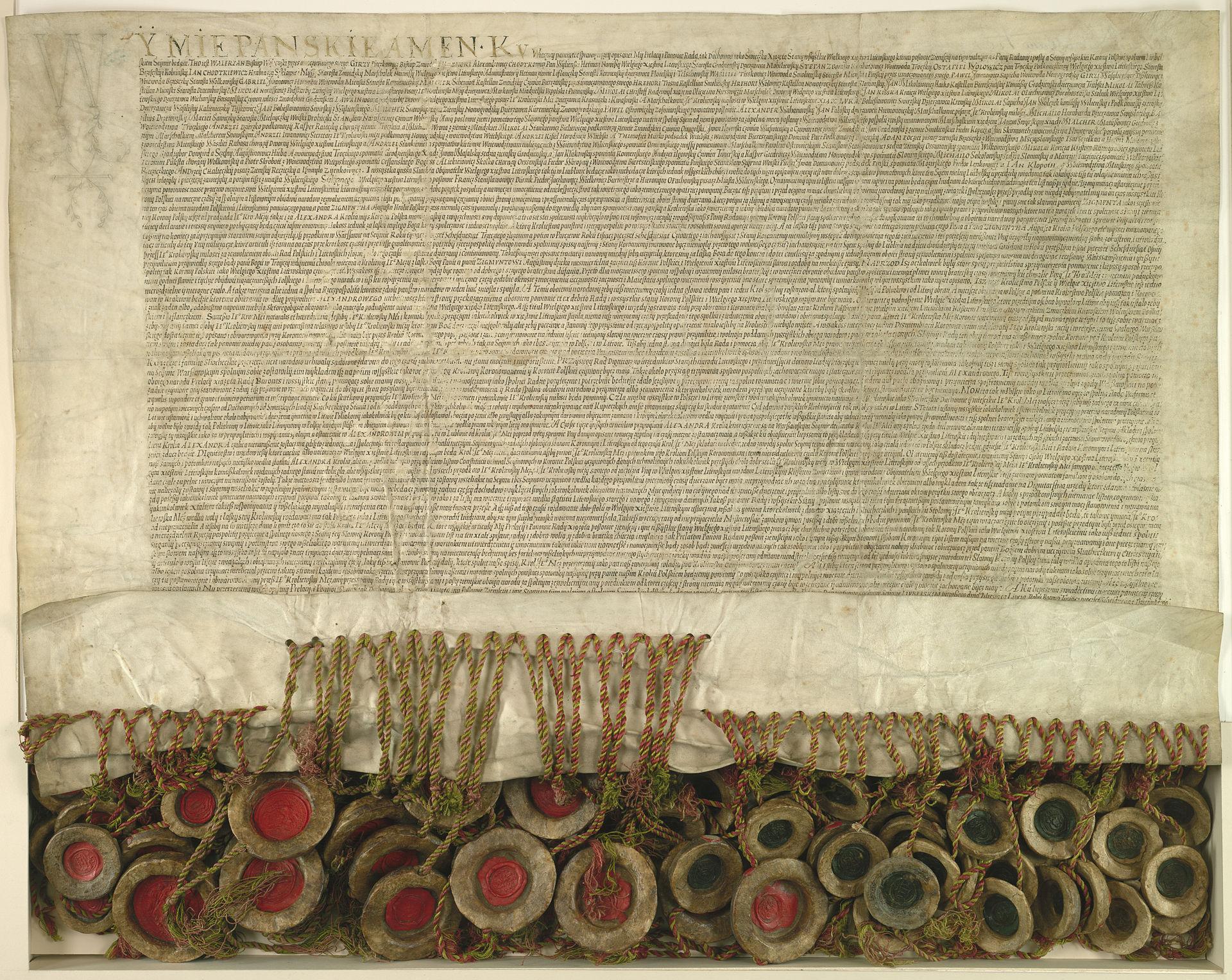 Akt Unii Lubelskiej 1 lipca 1569 roku (fot: Wikipedia Commons/Archiwum Główne Akt Dawnych)