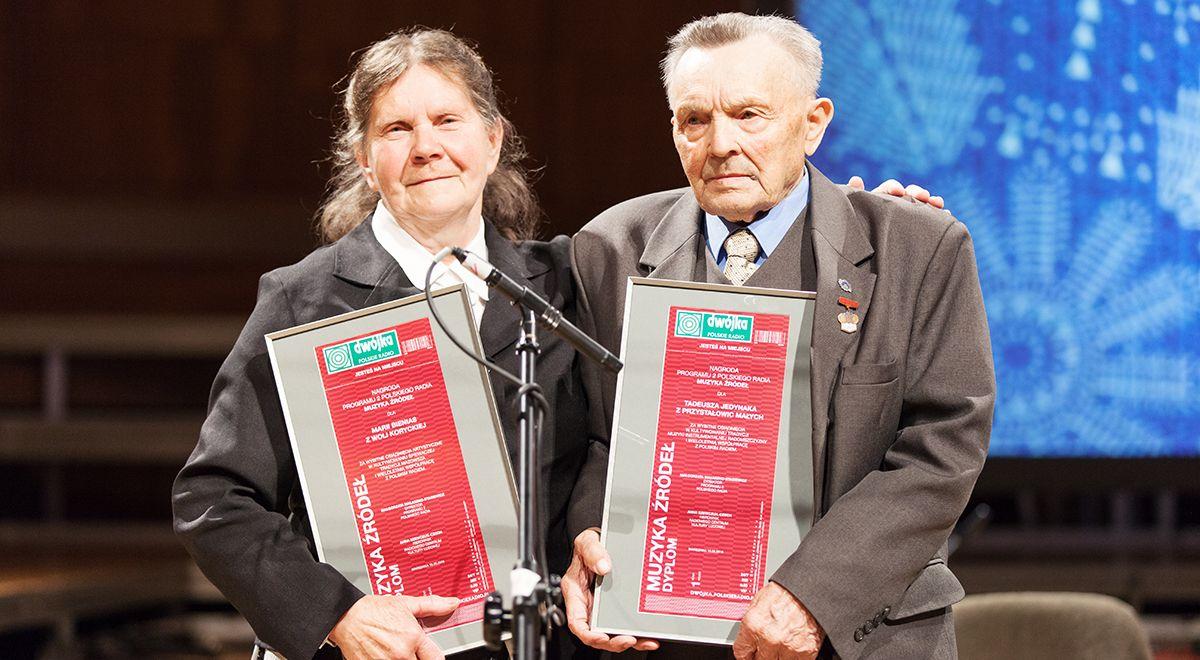 Maria Bienias i Tadeusz Jedynak podczas uroczystości wręczenia nagród Muzyka Źródeł. Fot. Bartosz Wojciechowski/PR