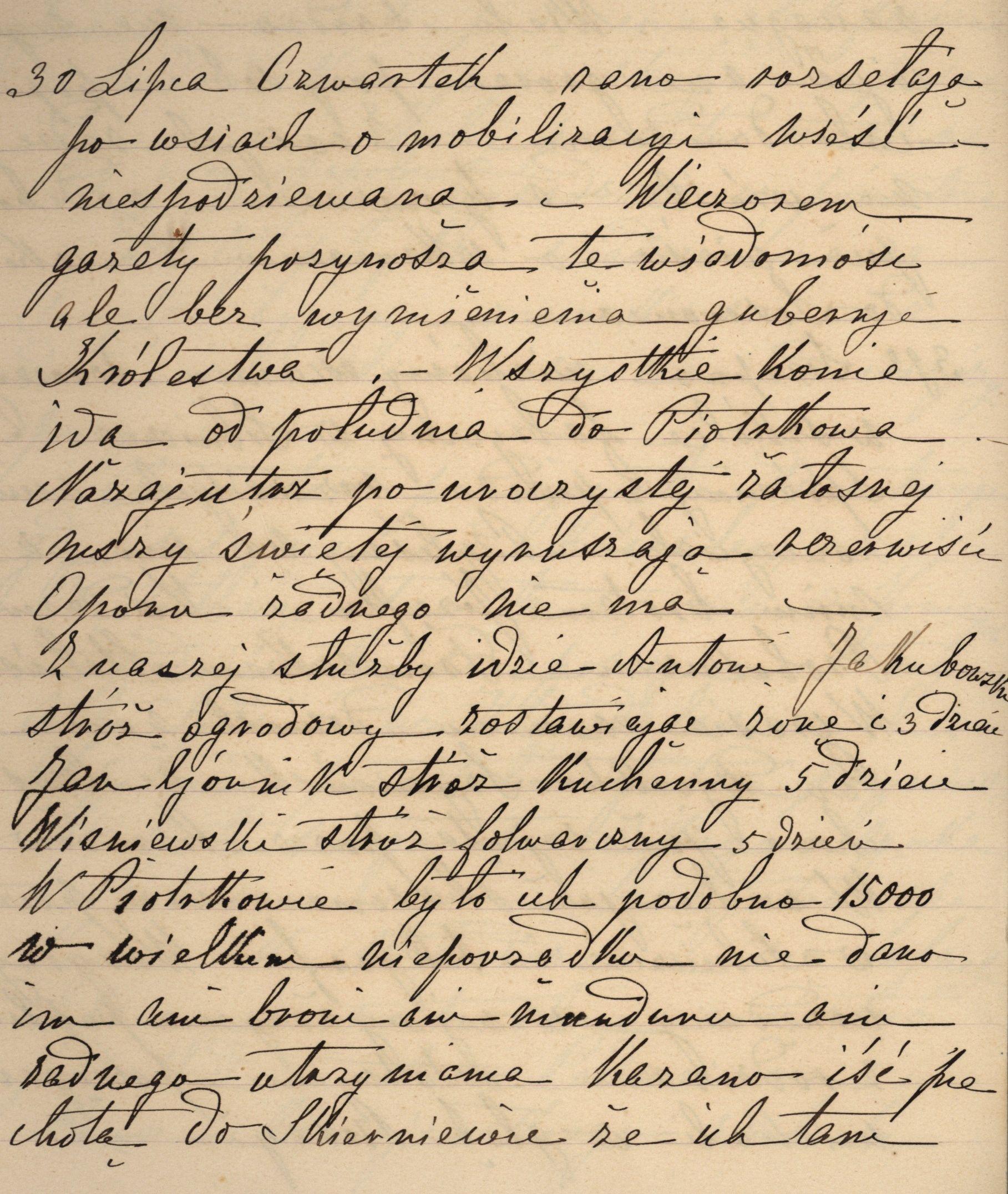 Jedna ze stron pamiętnika prowadzonego przez hrabinę Ostrowską
