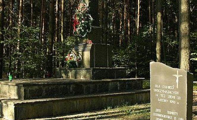 Pomnik ofiar rzezi wołyńskiej w Janowej Dolinie (Ukraina)