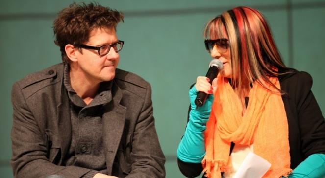 Magda Jethon i Wojciech Malajkat na konferencji w Teatrze Syrena, 27.03.2012