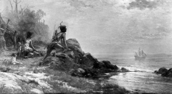 Henry Hudson dociera do brzegów Nowego Jorku, aut. Edward Moran (1898), źr. Biblioteka Kongresu USA, Wikimedia/dp