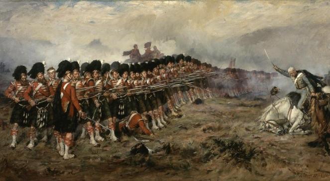 Dwuszereg utworzony podczas bitwy pod Bałakławą przez 93 Pułk Górali Szkockich, który odparł szarżę rosyjskiej kawalerii. Obraz Roberta Gibba
