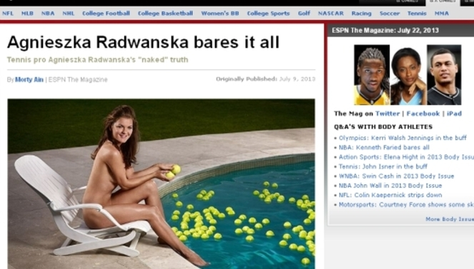 Agnieszka Radwańska w nagiej sesji. Screen ze strony espn.go.com