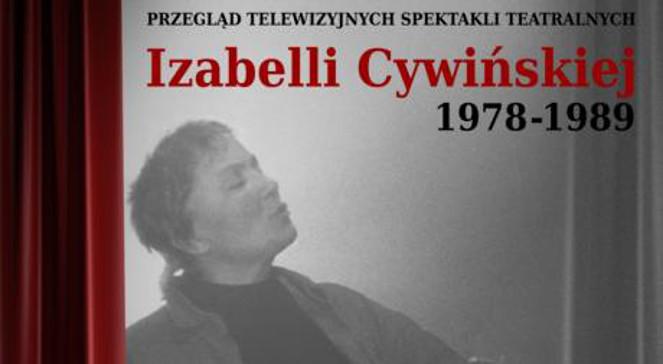 Fragment plakatu Przeglądu spektakli telewizyjnych w reżyserii  Izabelli Cywińskiej